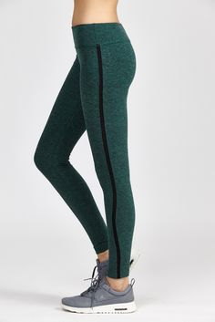 bc3e351213077 Beyond Yoga | Green Spacedye Lattice Side Long Legging | Lyst Mesh Leggings,  Capri Leggings