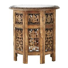 Mesa auxiliar tallada de madera An. 46cm SARANYA