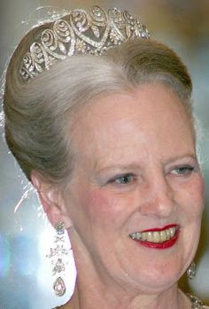 Grand Duchess Louise of Baden's Palmette Tiara worn by Queen Margrethe II Royal Crowns, Royal Tiaras, Tiaras And Crowns, Queen Margrethe Ii, Danish Royalty, Royal Jewelry, Jewellery, Danish Royal Family, Crown Jewels