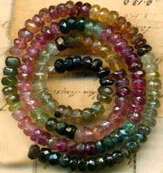 """Tourmaline Beads~4mm Faceted Rondells~Ruby Pink Green Rainbow Multicolor 13"""""""