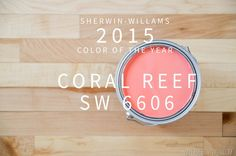 "Sherwin-Williams 2015 Color of The Year is ""Coral Reef."" Use this poppy pink color to stand out among minty accents or pair with black and white furniture for a girly Parisian theme nursery. Coral Reef Color, Coral Pink, Coral Paint Colors, Stain Colors, Pink Color, Painting Tips, House Painting, Wall Colors, House Colors"