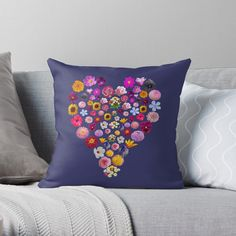'Heart of Flowers' Throw Pillow by ellenhenry Floral Cushions, Designer Throw Pillows, Flower Photos, Pillow Design, Floor Pillows, Hibiscus, Heart Shapes, Sweet Home, Art Prints