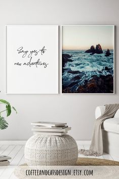 A gorgeous wall art set of two posters with an inspirational adventure quote + ocean photography. Gorgeous nature and scenery art for your apartment living room! Living Room Decor Inspiration, White Wall Art, Ocean Photography, Modern Wall Decor, Wall Art Quotes, Wall Art Sets, Cool Walls, Apartment Living, Frames On Wall