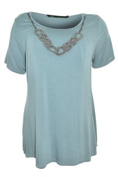 Inspired Woman Plus Necklace Shirt 1XL Scoop Neck Short Sleeve Stretch Soft NEW #Inspired #KnitTop #Career