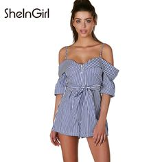 10d3ca5beffe SheInGirl Stripe Sexy Backless Women Playsuits Off Shoulder Lace Up Rompers  Strap Preppy Chic Female Summer