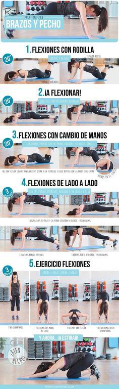 Rutina para tonificar brazos y pecho #adelgazarbrazos #pilatesparabrazos