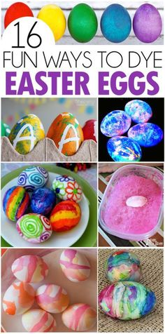 16 Fun Ways To Dye Easter Eggs - Easy and colorful ways to decorate Easter eggs! From ones your little ones can do, crayons, water color, glow in the dark and more!