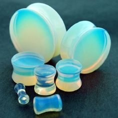 PAIR-Opalite Ear gauges -Ear Plugs-Flesh Ear Tunnels-Organic Ear Gauges #SoSceneeargauges