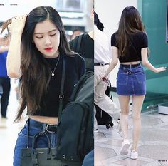 Black Plain Tee Airport Fashion of Blackpink Rose