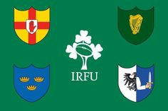 Irish Rugby Football Union: counterclockwise starting at The Red Hand of Ulster, Munster, Leinster, Connacht