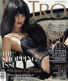 After appearing on Mega and Rogue last September, Kapamilya star Anne Curtis once again graces the cover of a local magazine.  On the cover of the November 2013 issue of Metro Magazine, Curtis is seen resting on a vintage-style chair wearing black see-through lingerie and black elbow-length gloves.  Her look highlighted her long, black hair with bangs.