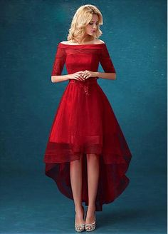 Amazing Tulle Off-the-Shoulder Neckline Hi-lo A-line Homecoming Dresses Red Homecoming Dresses, Bridesmaid Dresses, Dress Prom, Pretty Dresses, Beautiful Dresses, Amazing Dresses, A Line Cocktail Dress, Cocktail Dresses, Short Dresses