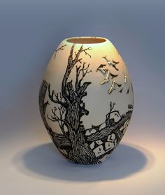 "Eunice Botes Ceramics - ""Dead tree branches"" - white porcelain with sqraffito and sprigs"