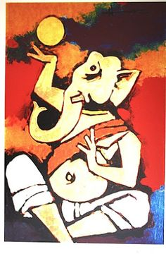 An online art gallery offering the best range of indian art online. Choose to buy from paintings, prints, artworks and more by renowned artists. Ganesha Drawing, Lord Ganesha Paintings, Ganesha Art, Krishna Painting, Indian Art Paintings, Modern Art Paintings, Picasso, Mf Hussain Paintings, Indian Contemporary Art