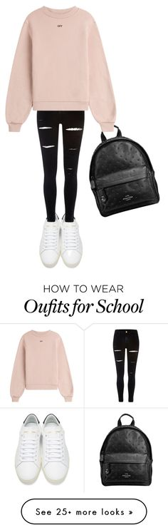 """""""School look"""" by madalina-cojocaru-1 on Polyvore featuring Yves Saint Laurent, River Island, Coach and Off-White"""