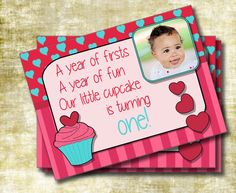 Cupcake and Hearts Girl First Birthday Party Invitation Double-sided (Custom Printable Digital File)