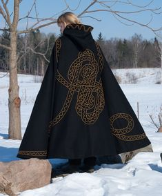 Embroidered lined wool cloak