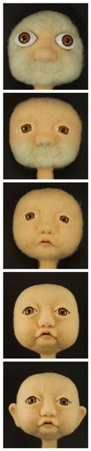 Needle felting Baby Benny from the book Needle Felting - Sculpting People With Wool.