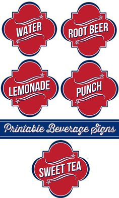Whipperberry: 4th of July Beverage Signs + 7 More Free 4th of July Printables.