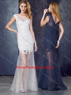 Short Inside Long Outside White Prom Dress with Beading and Appliques