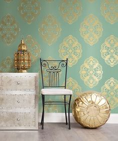Mirador Aqua Global Medallion Wallpaper from the Alhambra Collection by Brewster Home Fashions