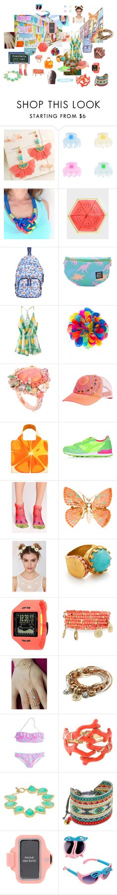 """""""Coachella! Outfit"""" by rocketkitty ❤ liked on Polyvore featuring Shoreditch, Monsoon, Paperchase, Tumi, Forever 21, Anabela Chan, Billabong, LOQI, Topshop and Missguided"""