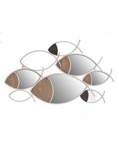 Διακοσμητικός καθρέπτης με λευκό και ξύλο σε σχήμα ψαριών! Fish, Pisces