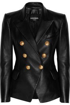 Balmain Double-breasted leather blazer NET-A-PORTER.COM