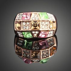 Claire Jin Geometric Square Crystal with Rhinestones Women Ring from clairejin.aliexpress.com