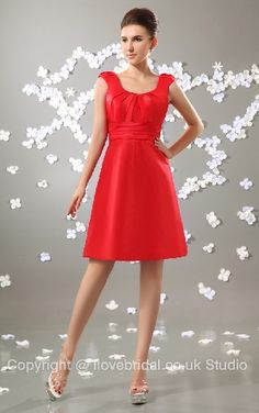 Funky Ruched Straps Scoop Empire Waist Short Red Bridesmaid Dress