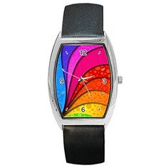 silver brushed finish slim design expansion band day date women s gay swirl rainbow lgbt mens or womens barrel watch leather band unique