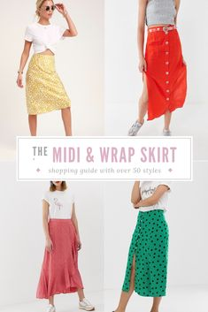 10 Ways to Style Your Wrap and Midi Skirts + Shopping Guide with Over 50 Styles Fashion Group, Fashion Over 50, Fashion Outfits, Fashion Tips, Fashion Trends, Women's Fashion, Club Fashion, Budget Fashion, Fashion Bloggers