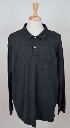 men's Polo Ralph Lauren gray long sleeve front pocket 3XL Big rugby polo shirt #PoloRalphLauren #PoloRugby