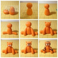 Fondant tiger The Cakeldy Fondant Cake Toppers, Fondant Figures, Fondant Cakes, Fondant Bow, Cake Decorating Techniques, Cake Decorating Tutorials, Cookie Decorating, Bolo Zoo, Clay Projects