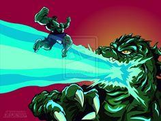 Hulk Vs Godzilla by chriscrazyhouse.deviantart.com on @deviantART