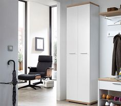 Germania Top Modern Tall 2 Door Hall Wardrobe in White or Oak