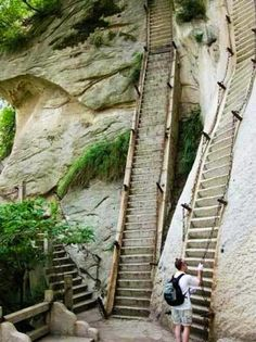 Stairs on side of mountain