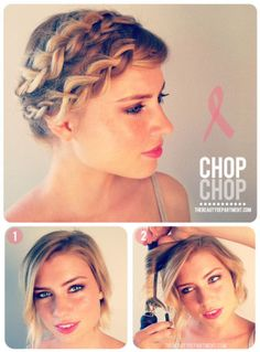 Cute hair styles for short hair, including braiding.