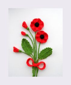 Crochet Applique Poppy Flowers and Leaves Set от CraftsbySigita Hand Crochet Appliques Poppy flowers and leaves crocheted using Acrylic yarn. MADE TO ORDER Large flowers measures approx: 7 - cm in Crochet Poppy Flower Crochet Brooch Red by CraftsbySigit Crochet Poppy, Crochet Flower Hat, Knitted Flowers, Crochet Flower Patterns, Knitting Patterns, Irish Crochet, Hand Crochet, Crochet Brooch, Crochet Crafts