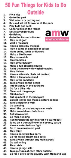 50 Fun Things For Kids To Do Outside Amotherworld Outside Activities For Kids, Outdoor Fun For Kids, Activities To Do, Summer Activities, Kids Things To Do, Fun Things, Babysitting Activities, Kids And Parenting, Kids Learning
