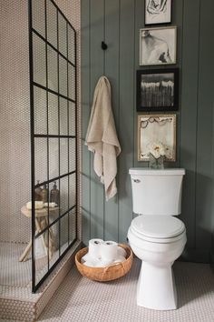 Unique, Warm Master Bathroom Reveal, bathroom with gray shiplap and walk in shower