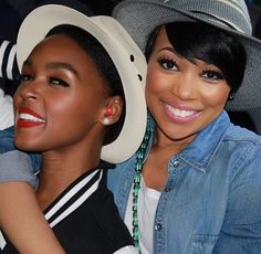 Janelle Monae and Monica Brown Pose Off