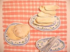 Pancakes. Ingredients are yellow ochre, cadmium yellow and burnt sienna for the burnt bits,