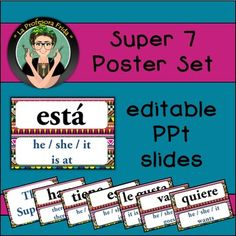 Spanish Super Seven {7} Poster Set {Editable!} Aztec design  The Super 7 Verbs in a fun, Aztec themed poster set!  The set includes: - The Super 7 (word wall heading) - the Super 7 Spanish verbs: es, tiene, le gusta, hay, está, va, quiere - + English translations: he/she/it is, he/she/it has, it is pleasing to him/her, there is/there are, he/she/it is at, he/she/it goes, he/she/it wants