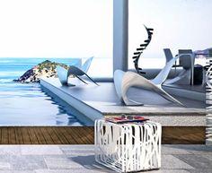 Manta carbon fibre chair with cube carbon table.