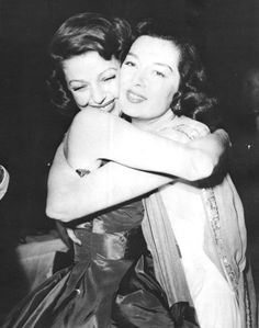 Loretta Young and Rosalind Russell, c.1940s.....Uploaded By www.1stand2ndtimearound.etsy.com