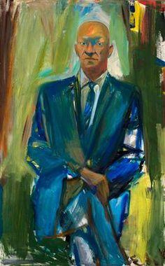 Elaine de Kooning (1918-1989) Een groot deel van het werk van Elaine de Kooning waren haar portretten. Haar onderwerpen waren vaak collega-kunstenaars, meestal mannen, waaronder dichters, kunstcriticus Harold Rosenberg , choreograaf Merce Cunningham , en schilders Fairfield Porter en haar man, Willem de Kooning. Hoewel ze werkte in abstract expressionistische stijl, zag je een gelijkenis van de persoon.