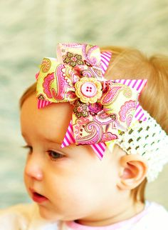 baby hair bow boutique hairbow  ribbon Clip by SallyAnnaSunshine, $6.99