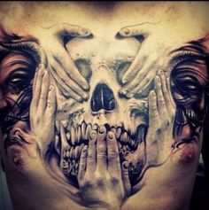Artwork by Carl Grace. sickest chest piece ever #myworldofink