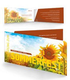 Sommerfest Einladungskarte Zum Seitlichem Aufklappen. #sommerfest # Einladungskarten #sommer